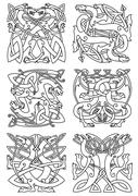 Celtic knot pattern with tribal dragons - stock illustration