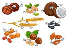 Isolated nuts, seeds and cereal ears Stock Illustration