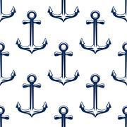 Stock Illustration of Blue retro marine anchors seamless pattern