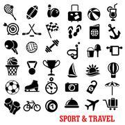 Sport, travel, tourism an recreation icons set - stock illustration