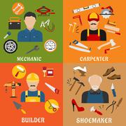 Stock Illustration of Builder, carpenter, mechanic and shoemaker
