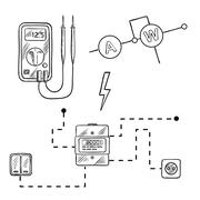 Voltmeter, electricity meter and electrical circuit sketch - stock illustration