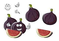 Stock Illustration of Ripe purple fig fruits cartoon character