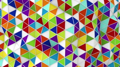 Colorful 3D render polygonal surface waving seamless loop Stock Footage