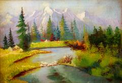 Landscape painting. River and miscellaneous in trees. Snow covered mountains on - stock illustration