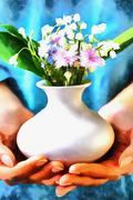 Meadow flower in woman hand.  computer aquarelle painting collage Stock Illustration