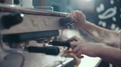 Barista coffee mashine prepare to work. Release steam Stock Footage