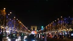 A view on Champs Elysee Avenue in Paris during Christmas time by night. Stock Footage