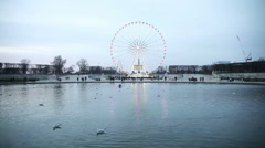 Landscape in Tuilerie Parc in Paris Stock Footage