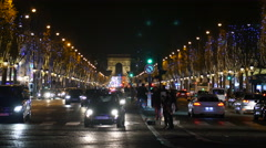 Champs Elysee Avenue in Paris France by Night Stock Footage