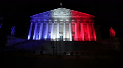 French parliament by Night Stock Footage