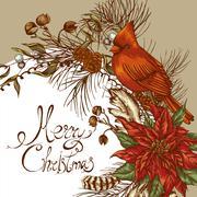 Christmas vintage floral greeting card - stock illustration