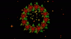 Starry Christmas wreath from red poinsettia with twinkling stars - stock footage