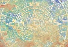 Ancient Mayan Calendar, abstract color Background - stock illustration