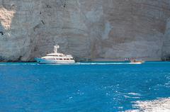 Luxury yacht amongst the cliffs of Zakynthos Island - stock photo