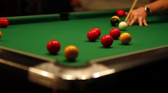Billiards / Pool Game - Misses Red Shot in Corner Stock Footage