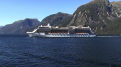Cruise ship milford sound New Zealand Stock Footage