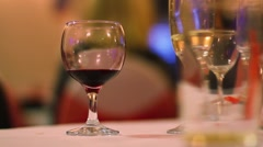 Glasses of Wine on Table at Dinner Party - stock footage