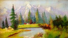 Beautiful Original Oil Painting Landscape On Canvas. Snow covered mountains in Stock Illustration