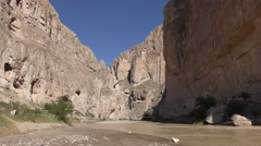 Rio Grande River at Narrow Canyone at Big Bend National Park Stock Footage