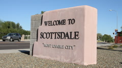 Scottsdale, AZ welcome sign Stock Footage