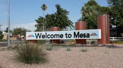Mesa, AZ welcome sign Stock Footage