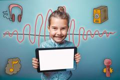 Teen girl smiling holding a plate with a white screen sound wave Stock Photos