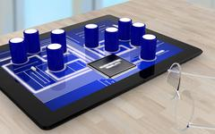 Augmented reality tablet on table Stock Illustration