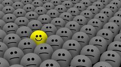 One yellow among many smileys - stock illustration