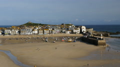 St Ives harbour, Cornwall, UK, tide out Stock Footage