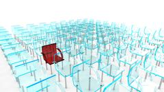 One red of many chairs - stock illustration
