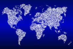 World map with glowing data centers Piirros