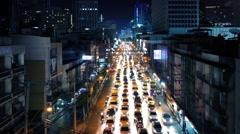 Beautiful Illuminated Road Through City At Night - stock footage