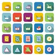 Laundry color icons with long shadow Stock Illustration