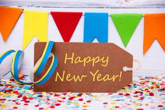 Label With Party Decoration, Text Happy New Year - stock photo