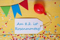 Party Label With Balloon, Text Rosenmontag Means Carnival Stock Photos