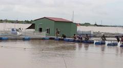 Stock Video Footage of fishing areas, men sit riverside fishing