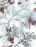 Stock Illustration of Watercolor Christmas Seamless Pattern with Tree Branches