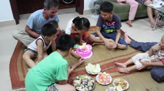 kid's birthday the family attended - stock footage