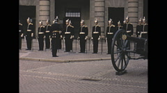 Vintage 16mm film, 1965, Norway, Royal guard military Stock Footage