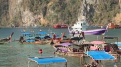 Boats Phi Phi Islands Sunrise Stock Footage