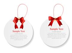 Sale Labels Set with Red Bow and Ribbon . Vector Illustration - stock illustration