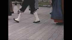 Vintage 16mm film, 1965, Sweden, traditional children dance #2 - stock footage
