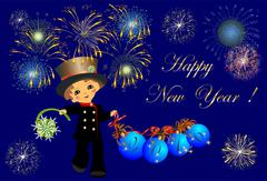 Chimney Sweep and New Year, - stock illustration