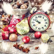 Christmas card with alarm clock - stock photo