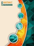 Abstract turquoise brochure with orange transparent stripe - stock illustration