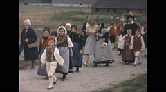 Vintage 16mm film, 1965, Sweden, traditional children dance #5 - stock footage