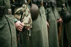 Close up of german military ammunition of a German soldier - stock photo