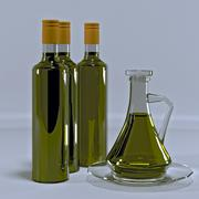 Glass jug and three bottles of olive oil. - stock illustration