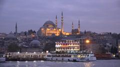 Suleymaniye Mosque at dusk in Istanbul, Turkey (Editorial) Stock Footage